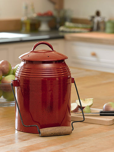 red kitchen countertop compost container