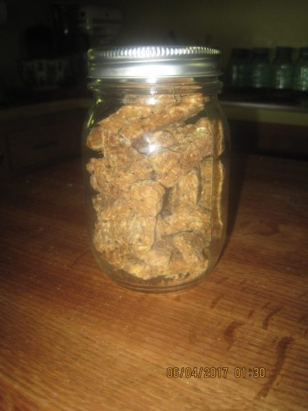Homemade Doggie Biscuit ready to be stored in the freezer.
