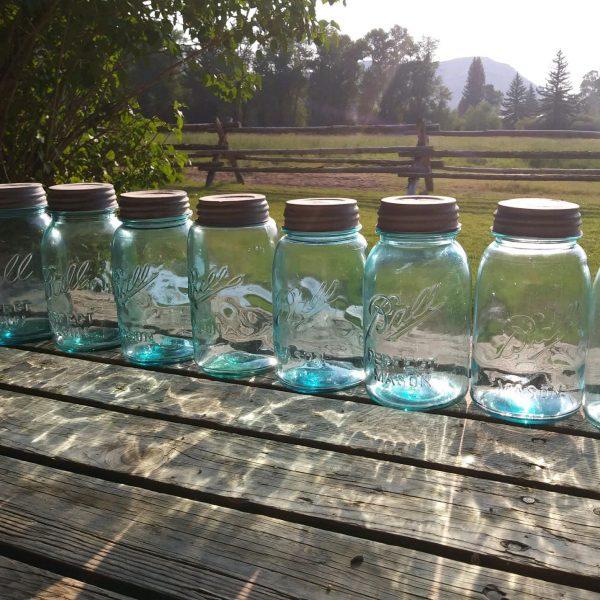 Vintage Blue Canning Jars