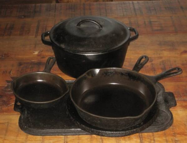 Cast Iron pans on table