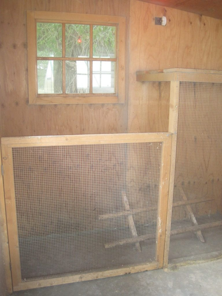 This is a small area that has been fenced off for baby chicks or as a separation pen for injured birds.