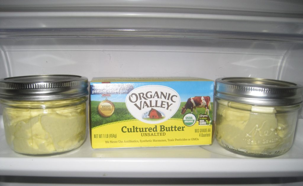 Store your homemade soft butter spread in clean 8 ounce glass jars and place them in the refrigerator.