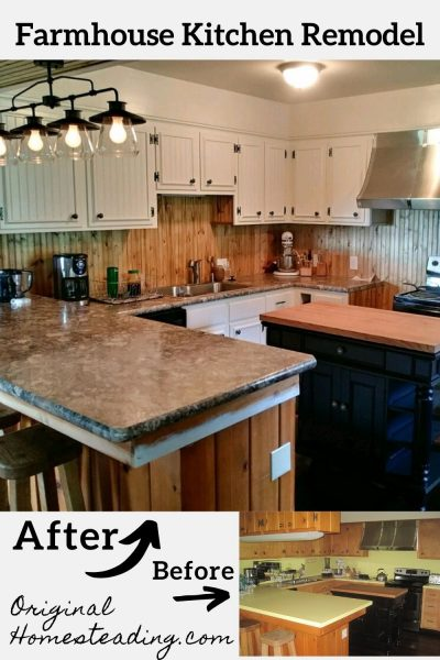 before and after photos of remodel job to make a farmhouse style kitchen