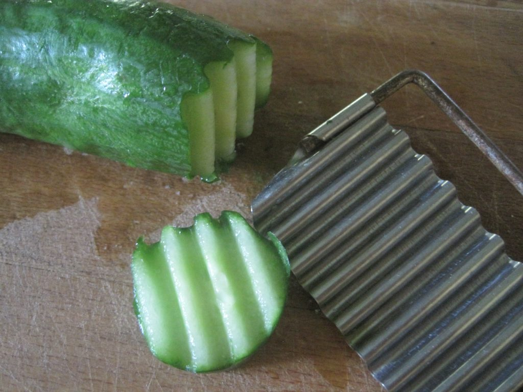 Unpeeled cucumbers work very well for Fresh Refrigerator Pickles which are perfect as a side condiment for any meal.