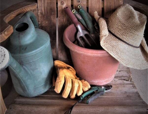 Gardening gloves and hand tools