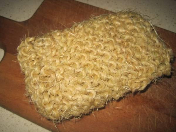 Hand Knit Twine Scrubber is natural and non toxic so it is perfect to use in the kitchen