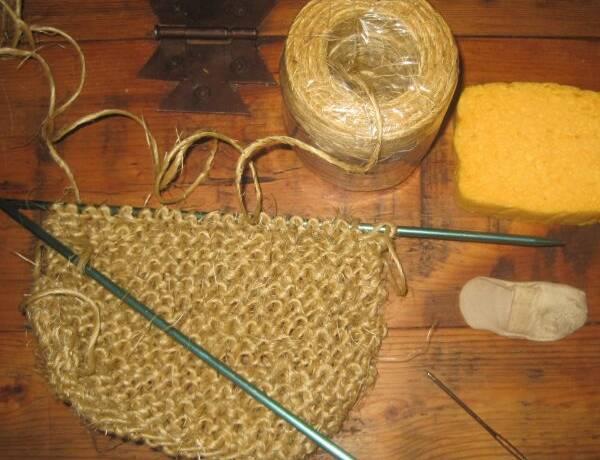 Hand Knit Twine Scrubbie