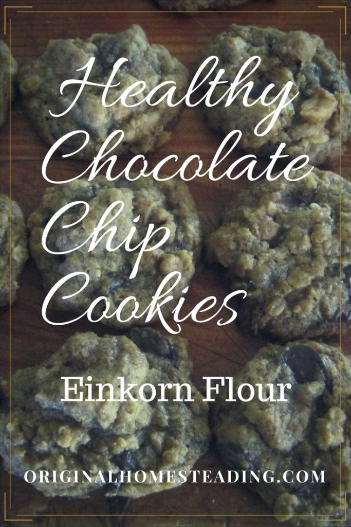 Healthy Chocolate Chip Cookies are made with Avocado Oil, organic peanut butter, chocolate chips and einkorn flour!