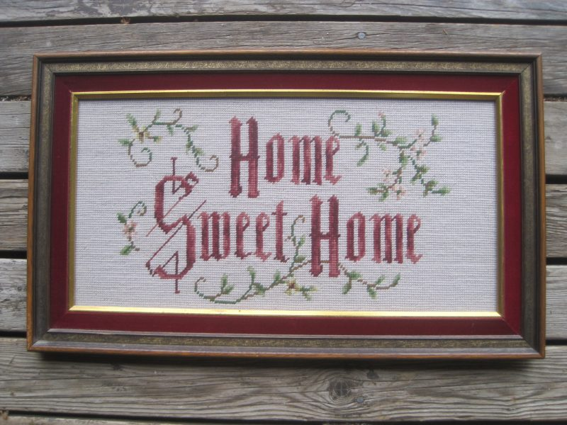 needle point framed picture with the words of Home Sweet Home