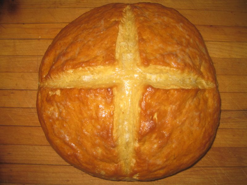 Loaf of freshly baked No Yeast Einkorn Bread