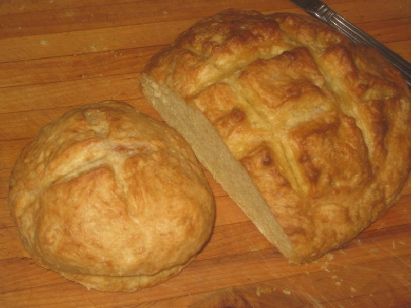 large and small loaves of fresh flat bread