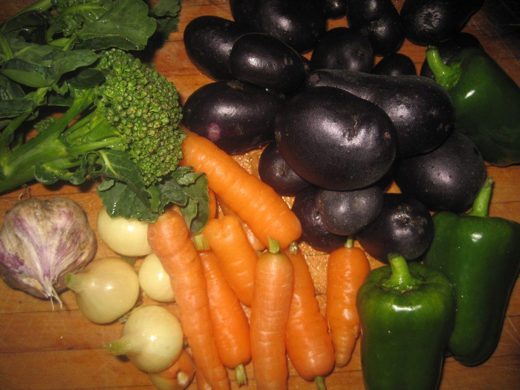 Fresh Garden Vegetables that were just gathered from the Garden.