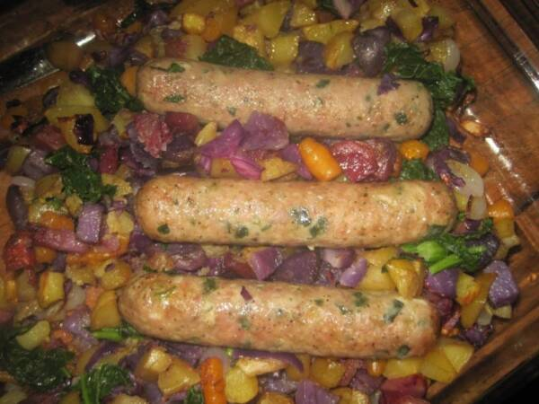 Sausage with Roasted Vegetables