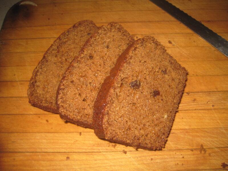 homemade slices of applesauce bread