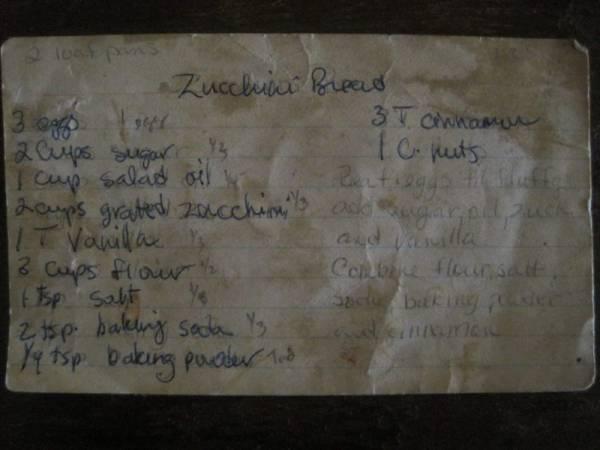 Healthy Zucchini Bread Recipe Card