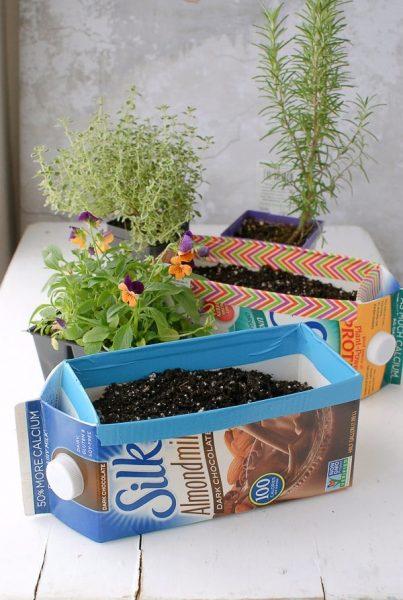Milk Carton Herb Gardens - making planting - BoulderLocavore.com