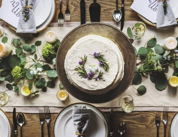 Natural Table Setting with Leaves and Candles