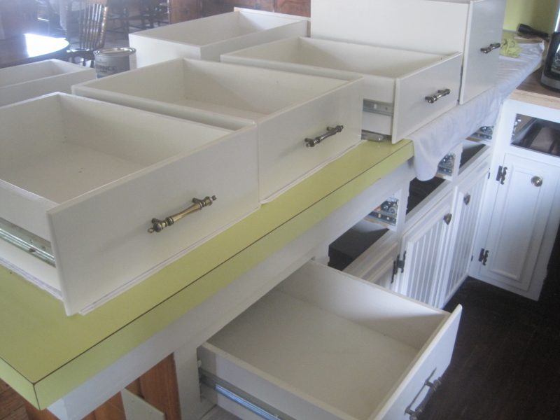 Painting Drawers in a farmhouse kitchen