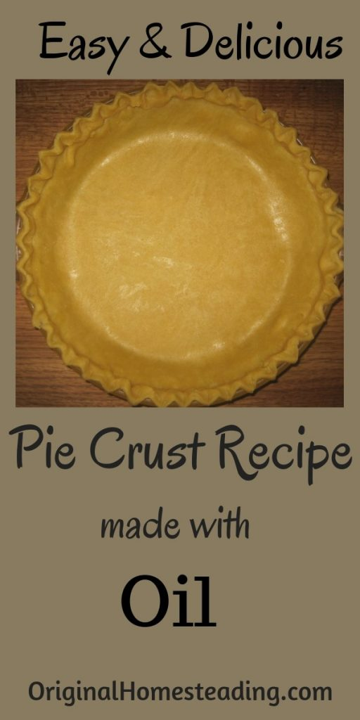 This is a flaky pie crust recipe made with oil instead of hard shortening and it is perfect for single pie crusts or double pie crust recipes.