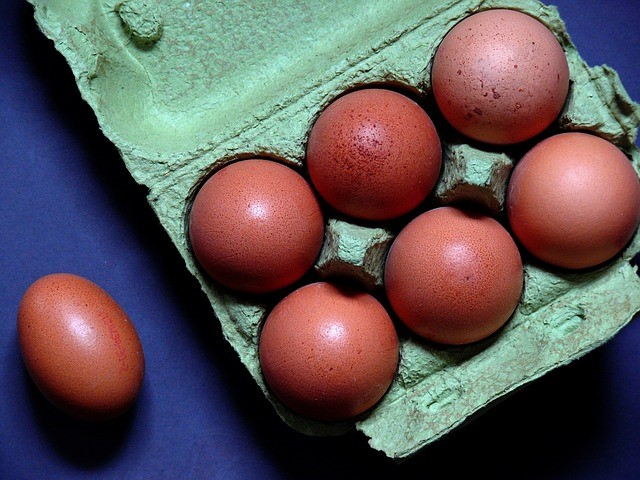 brown eggs in green cardboard egg carton