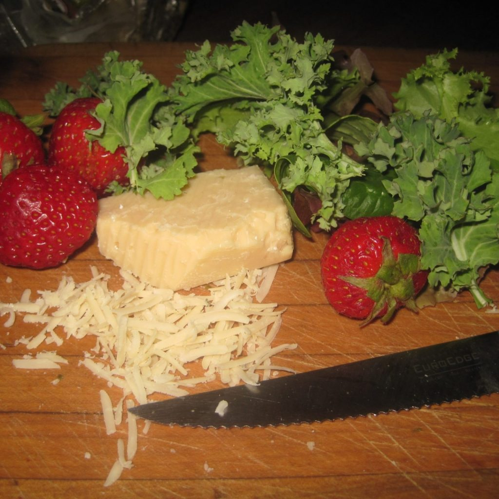This is a easy Strawberry and Kale Salad Recipe with Parmesan Cheese with optional Bacon.