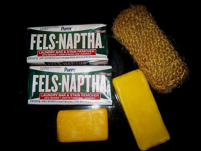 bars of Fels Naptha Soap and a handmade knit scrubber