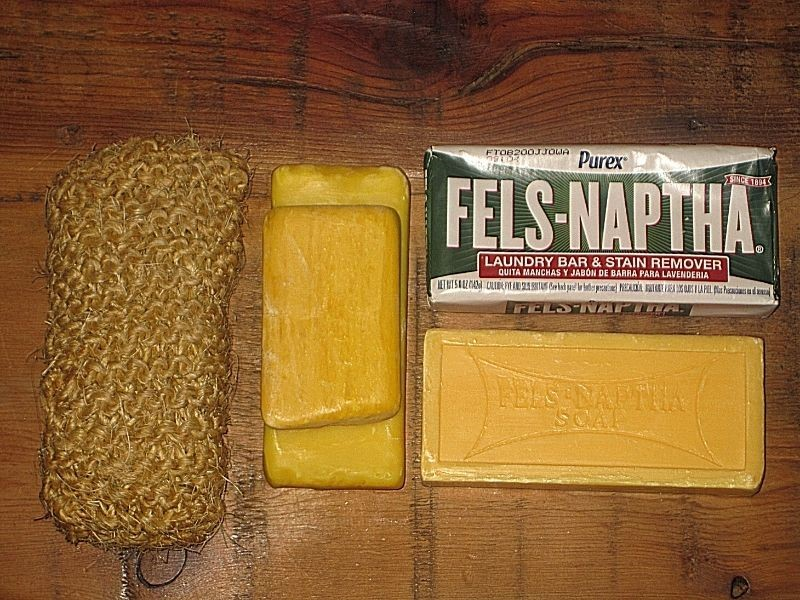 bars of Fels Naptha Soap with a handmade knitted kitchen dish scrubbie