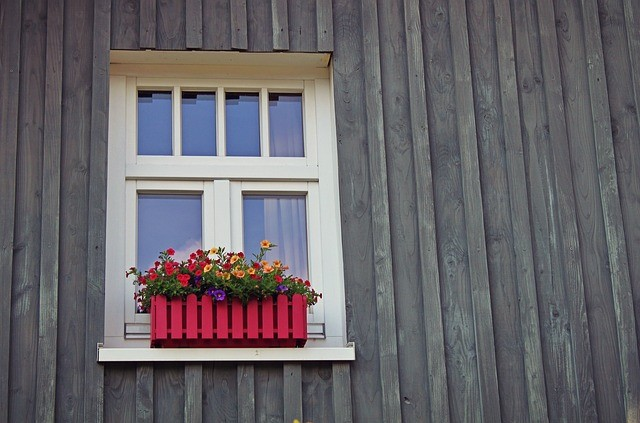 Window Box on Wall with beautiful red and yellow flowers