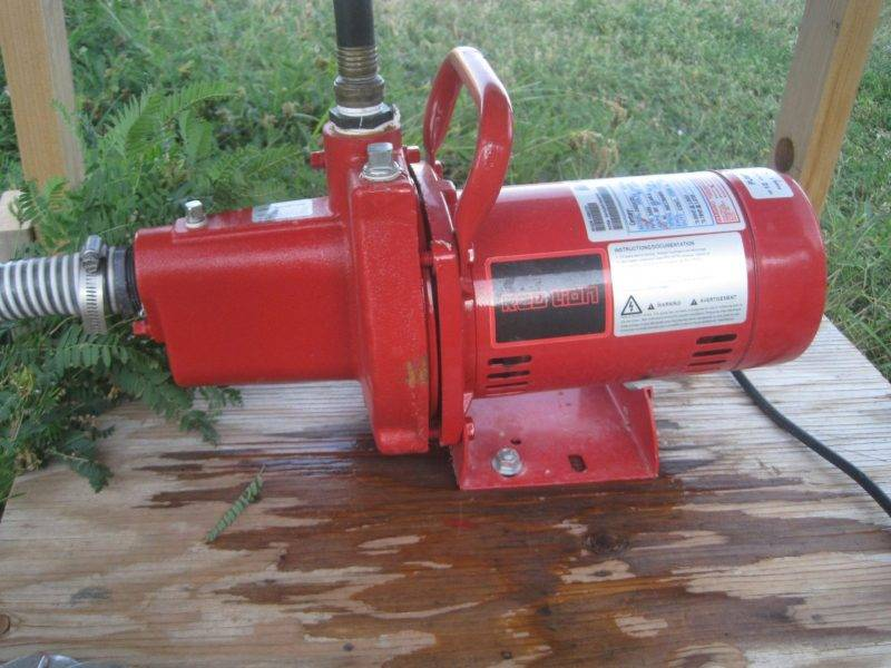 This is a close up of a Red Lion Electric Sprinkler Pump